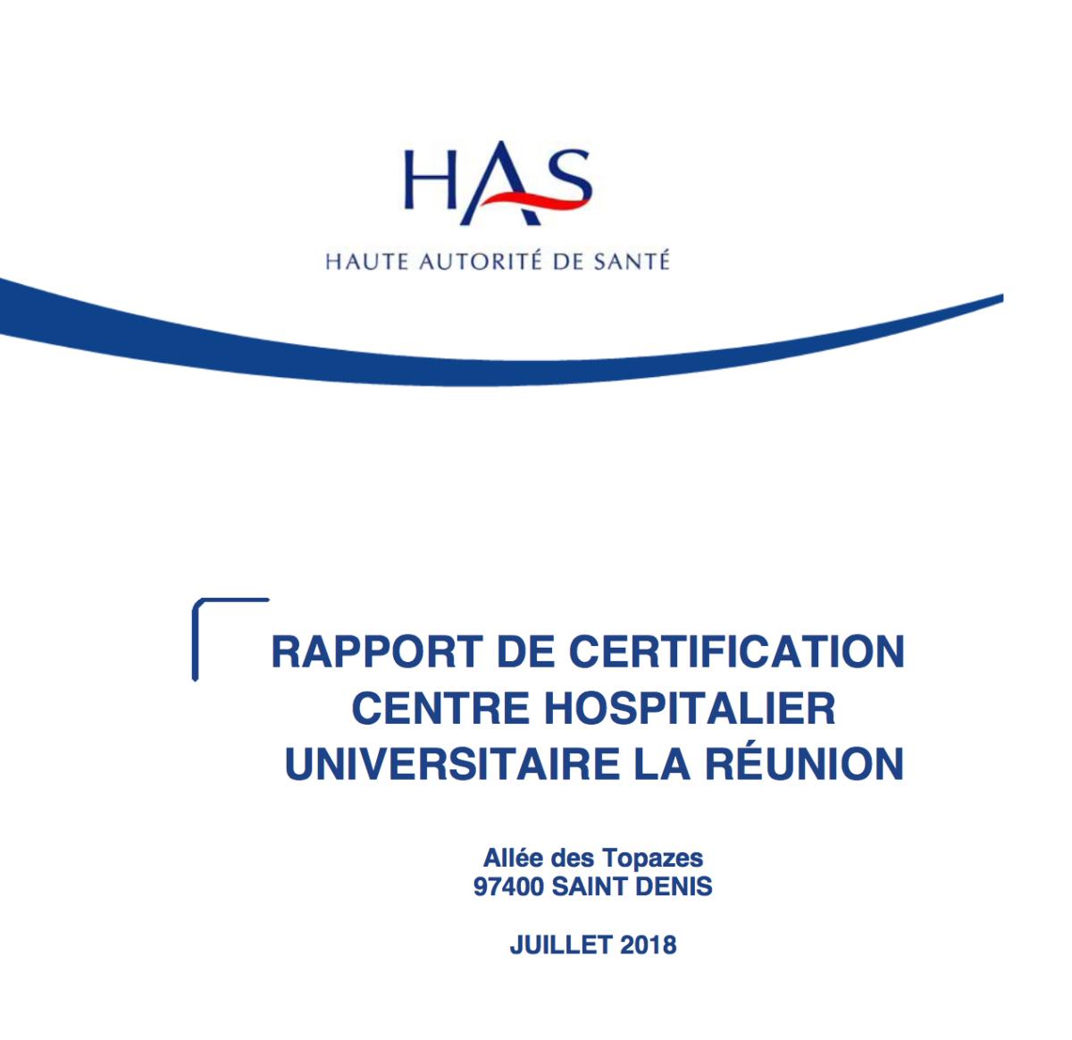 Rapport de certification CHU La Réunion